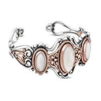 Relios Sterling Silver Mixed Metal Mother of Pearl Doublet Cuff from Relios