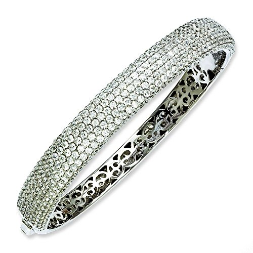 Argent Sterling Rhodium plaqué CZ Bracelet Bracelet-JewelryWeb