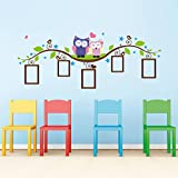 lovely owls photos frames wall stickers home decoration animals wall decals bedroom mural