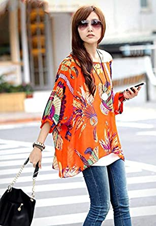 OKSakady Plus Size T-Shirt per Donne Chiffon Batwing 3//4 Manica Doman Tunica