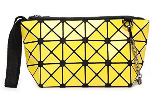 Patent Leather Wristlet Clutch - Kayers Sulliva Women's Fashion Hologram Geometric Plaid Wristlet Purse Clutch Wallet Shoulder Handbags(Yellow)