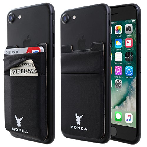 Monca Credit Card [Double Secure] Holder Stick on Wallet Discreet ID Holder Lycra Spandex Card Sleeves [Lid & Pocket] iPhone x 6s 7 8 Samsung Galaxy s8 Note 8 Blu Smartphones (Black)