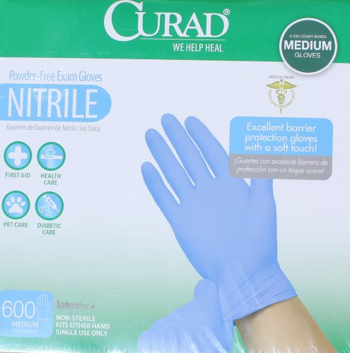 Powder Free, Latex Free, Medical Grade, Exam Glove (Nitrile) Qty. 600 Medium by Curad