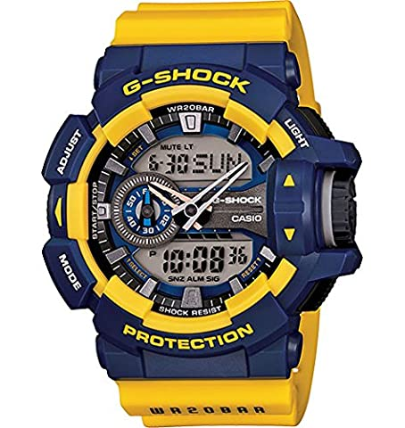 G-Shock GA-400-9B Rotary Switch Mission Stylish Watch - Blue/Yellow / One Size (Blue G Shock Men)