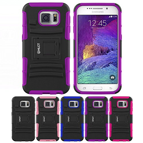 Price comparison product image Galaxy S6 Stand Case,  HLCT Rugged Shock Proof Dual-Layer PC and Soft Silicone Case With Built-In Stand Kickstand for Samsung Galaxy S6 (2015) (Purple)