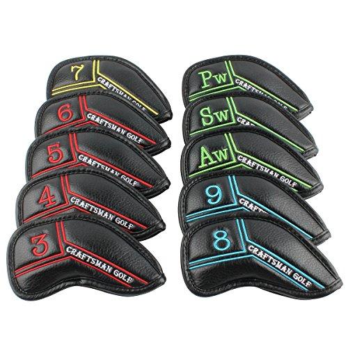 逮捕保育園原子炉Craftsman GolfブラックPUレザーアイアンヘッドカバーヘッドカバーセットカラフルno。異なる色( 5 )フィットTitleist、Callaway、Ping、TaylorMade、コブラ、ナイキ、Mizuno、など。