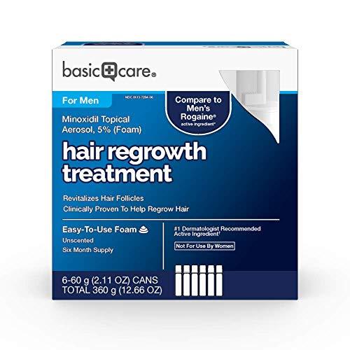 Basic Care Minoxidil Topical Aerosol, 5% Foam, Hair Regrowth Treatment for Men, 12.66 oz ()