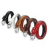 Set of 5 HBY Women Metal Fashion Skinny Leather Belt Elastic belt solid color