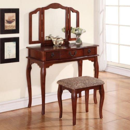1PerfectChoice Tri Folding Mirror Cherry Wood Vanity Set Makeup Table