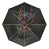 CHAYUN Automatic Umbrella Waterproof Windproof Strong Travel Folding Ballet Girl Umbrella Auto Open Close Lightweight Slip Proof for One Handed