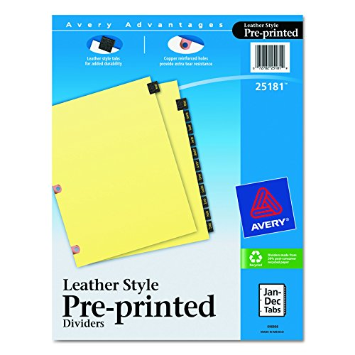 Nice Avery Black Leather Preprinted Dividers with Jan-Dec Tabs, 12-Tab Set, 1 Set (25181) for sale