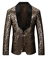 Men's Slim Fit One Button Gold Blazer