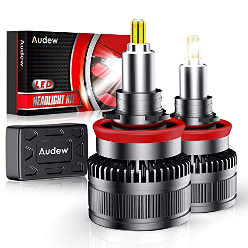 Audew H11/H8/H9 LED Headlight Bulbs,2019 Newest Version 360-degree LED Headlight bulbs with 50000 Hours Lifespan-10000LM 60W 6000K Cool White Extremely Bright Conversion Kits(Pack of 2)