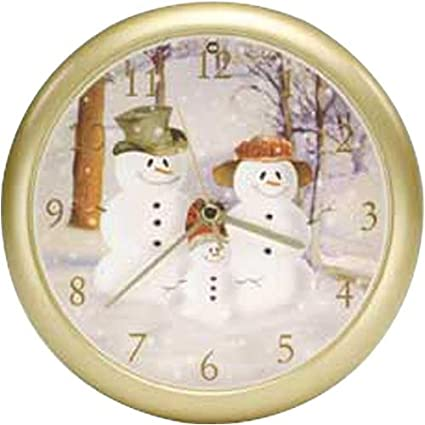 snow family musical christmas carol sound clock 8 - Musical Christmas Clock