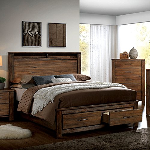 Elkton Oak Finish King Size 6-Piece Bedroom Set (Hardwood Bedroom Furniture Sets)