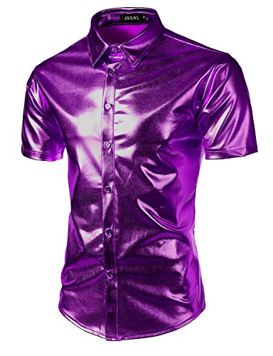 JOGAL Men's Trend Nightclub Styles Metallic Silver Short Sleeve Button Down Shirts Large Purple]()