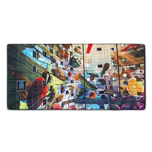Rotterdam Outdoor Light - WilBstrn Artistic Mural Rotterdam Markthal Painting Fruit Microfiber Towels, Super Absorbent for Sports, Travel, Fitness, Yoga