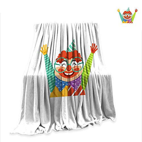 Betterull Summer Quilt Comforter Funny Circus Clown in Traditional Makeup and Glasses Cartoon Friendly Clown in Classic Outfit Vector Illustration 70