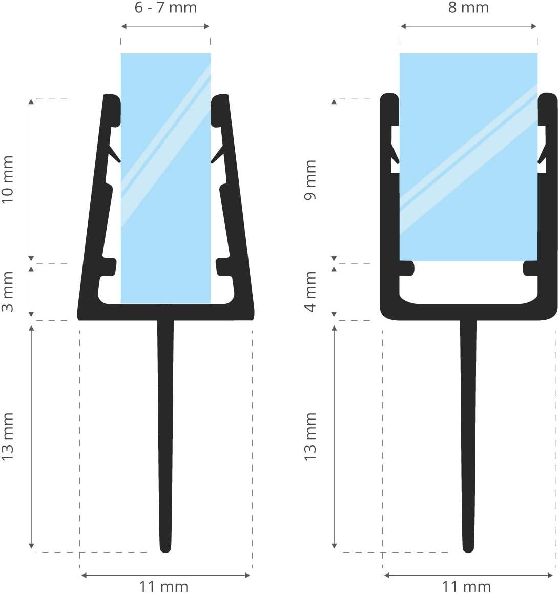 Cabina de Ducha Semicircular Junta Semicircular Para las Mamparas de 5 mm// 6 mm// 7 mm// 8 mm STEIGNER Junta de Ducha Curvada 70 cm UK10 Ducha Redonda Junta de Repuesto Semicircular