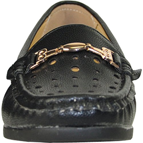 Zapato Kozi Comfort Para Mujer Th6252_black Con Punta De Mocasín Con Cordón Negro