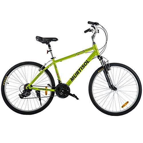 Murtisol Aluminum Comfort Bike 26'' Commuter Bike Mountain Bike Hybrid Bike for Men 21 Speeds Derailleur, Front & Seat Suspension, Adjustable Seat & Handlebar Green