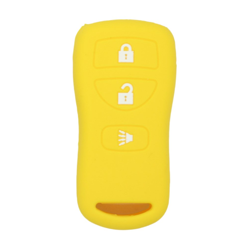 SEGADEN Silicone Cover Protector Case Skin Jacket fit for NISSAN 3 Button Remote Key Fob CV2507 Yellow