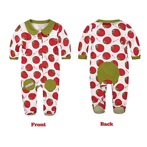 CuteOn Vegetable Fruit Print | Unisex Baby | Footed | Coverall Pajama Jumpsuit Tomato 9-12 Months