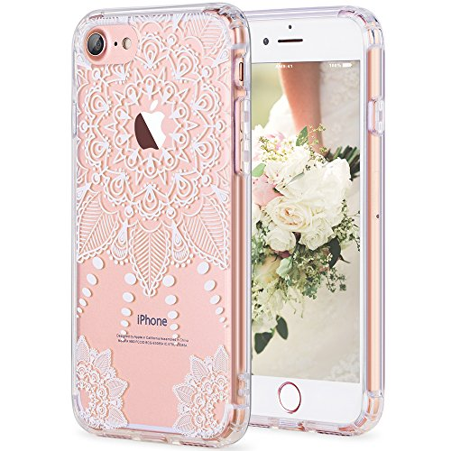 Price comparison product image iPhone 7 Case, LUHOURI White Henna Mandala Floral Case, Transparent Plastic with Clear TPU Bumper Protective Back Phone Case Cover for Apple iPhone 7 (4.7 Inch) (H-01)