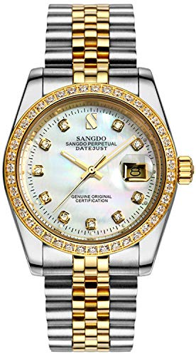 Men's Automatic Watch Diamond Gold Stainless Steel Case Band Waterproof Shell Dial Watches (Gold/White)