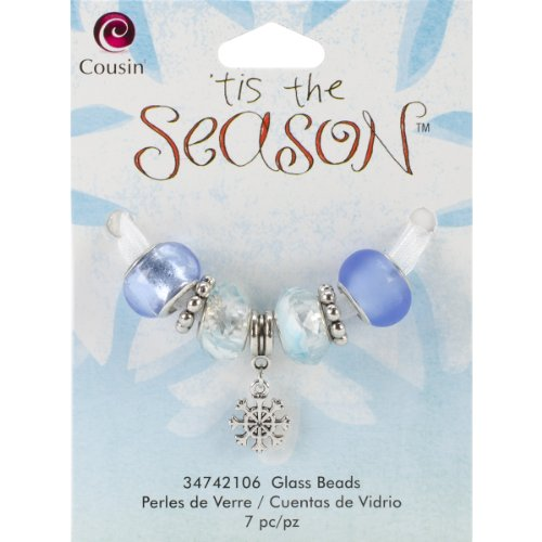(Cousin Tis The Season Large Hole Beads, Snowflake Glass and Metal, 7-Pack)
