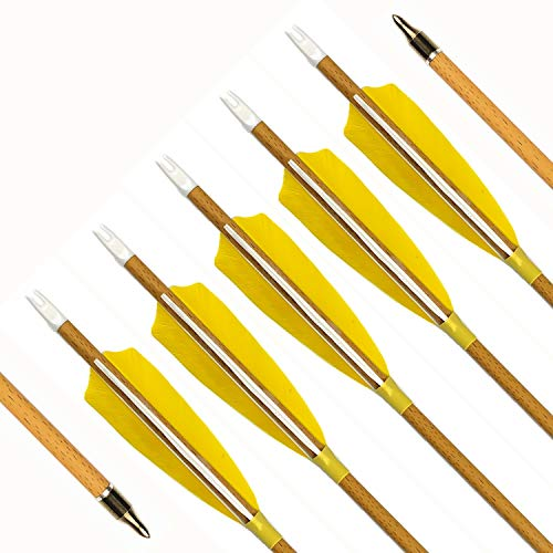 MS Jumpper 6 Pack 31 inch Archery Hunting Carbon Arrows, Wood Grain Carbon Shaft Spine 500 Fletching 4