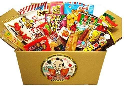 "Japanese Candy Box 22pcs with 1 BONUS ""福袋(Fuku-Bag)"", full of dagashi. ""TONOSAMA CANDY"""