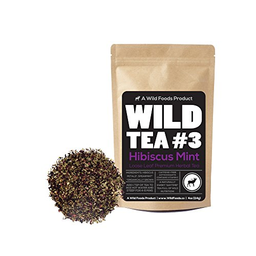 Wild Mint Tea - Wild Foods Organic Hibiscus Mint Wild Tea #3, 4 ounce