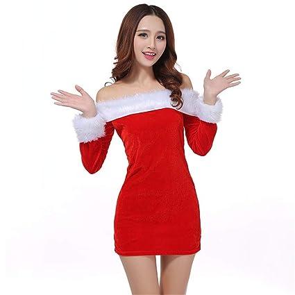 Costume da Donna Miss Santa, Vestito Disfraz de Santa Claus con Lindo Vestido de Santa