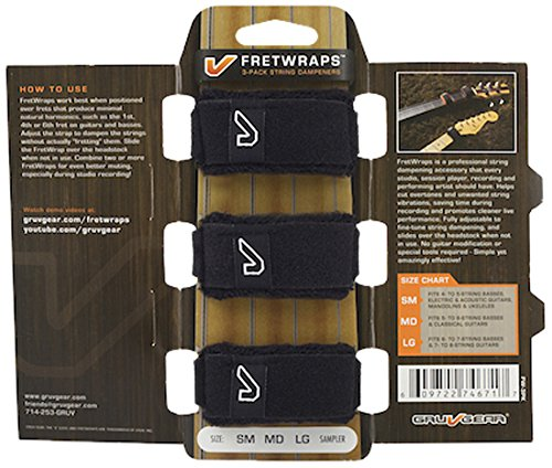 Gruv Gear FW-3PK-MD FretWraps 3-Pack String Muters, Medium, Black from Gruv Gear
