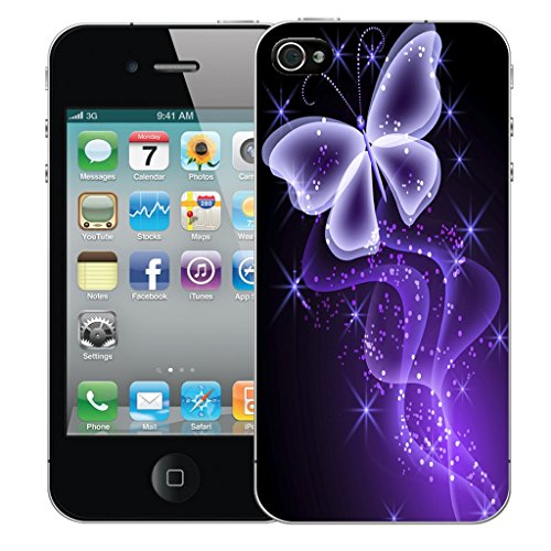 Mobile Case Mate iPhone 4 Silicone Coque couverture case cover Pare-chocs + STYLET - Purple Butterfly Sparkle pattern (SILICON)