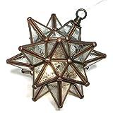 Moravian Star Pendant, Glue Chip Glass, Bronze Frame, 9''