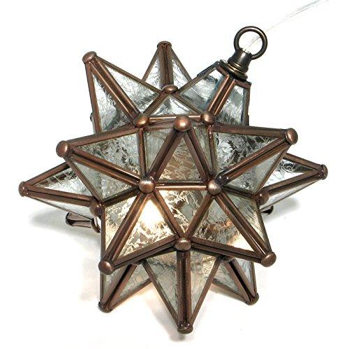 Moravian Star Pendant, Glue Chip Glass, Bronze Frame, - Moravian Pendant Star