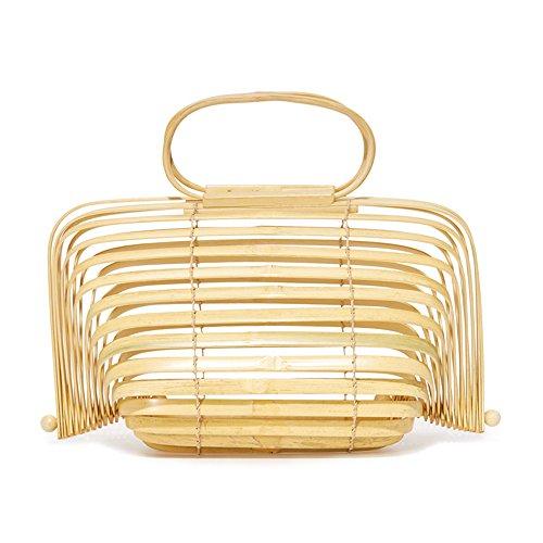 Herald Fashion Bamboo Handbag Handmade Large Tote Bag (Large, Yellow)