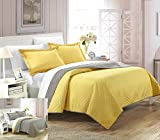Chic Home 2 Piece Teresa Reversible Color Block Modern Quilt Set, Twin, Yellow