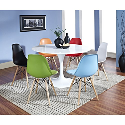 (Modway Eero Saarinen-Style Tulip Dining Table in White with Plastic Wood-Base Side Chairs in Clear)