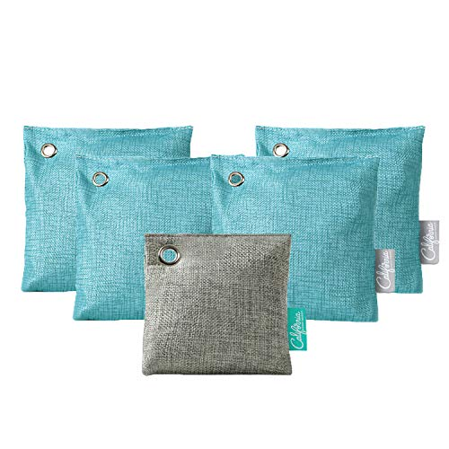 Bamboo Charcoal Air Purifying Bag (5-Pack) 4 x 500-g Bamboo Deodorizer Bags and 1 x 200-g Deodorizer Bag (Teal), Home & Car Odor Remover, Natural Air Purifying Bags