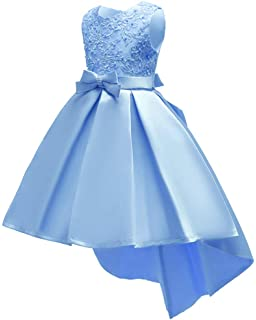 24844724a5dd Shiny Toddler Little/Big Girls Pleated Beaded High-Low Applique Embroidered  Flower Girl Pageant
