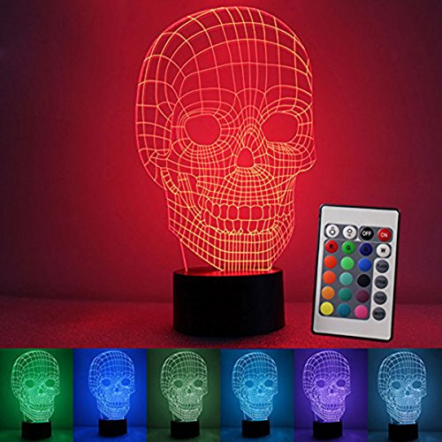 3D Night Light Touch Table Desk Lamp, 7 Colors 3D Optical Illusion Lights with Acrylic Flat & ABS Base & USB Charger for Halloween Christmas Gifts(Skull (Halloween Optical Illusions)