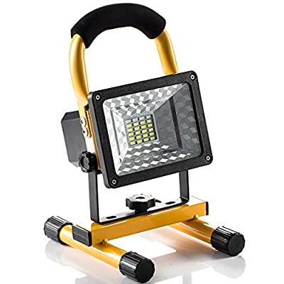 [15W 24LED] Rechargeable Work Light, GRDE Outdoors Camping Emergency Light with SOS Mode, Portable Floodlight with Built-in Lithium Batteries and 2 USB Ports to Charge Digital Devices