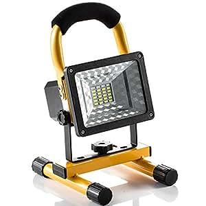 Foco LED Proyector, Lámpara Camping 15W, Foco LED Reflector para Trabajo Exterior, Lámpara Proyector LED, Luz Portátil para Trabajo de Noche, Iluminacion Exterior Recargable del Jardín al Aire Libre, Patio, Terraza, Pescado, Camping, Luz Protector Portátil Color Amarillo (amarillo)