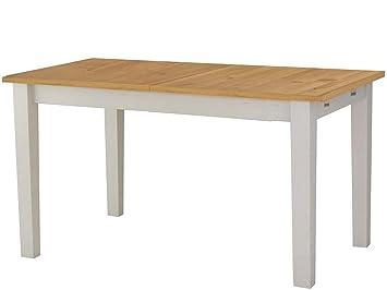 Loft24 Esstisch Ausziehbar Esszimmertisch 160 200 Cm Küchentisch Holztisch  Kiefer Massivholz Weiß Honig