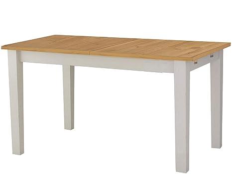 Loft24 Esstisch 160 200 Cm Ausziehbar Esszimmertisch Kiefer Massivholz Kuchentisch Rechteckig Tisch Fur 4 8 Personen Landhaus Weiss Honig