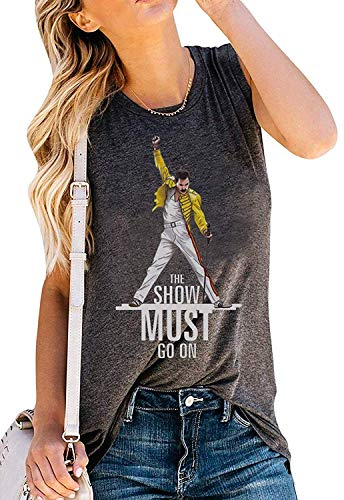 - Womens Vintage Tank Tops The Show Must Go On Funny Graphic Freddie Mercury Shirt Sleeveless Queen Band Tee Size M (Dark Gray)
