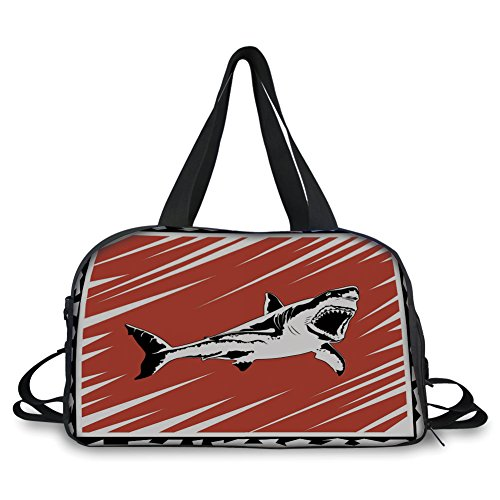 (Travel Handbag,Shark,Killer Sea Creature Swimming in The Ocean in Grunge Stylized Graphic,Black White Burnt Sienna ,Personalized)